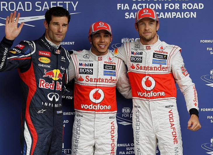 Hamilton leads all-McLaren front row