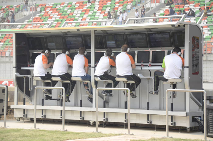 The Force India pitwall was kept busy during the eventful first session.