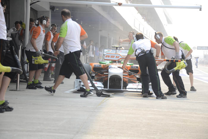 Force India team ready to wheel Paul Di Resta back into the garage.