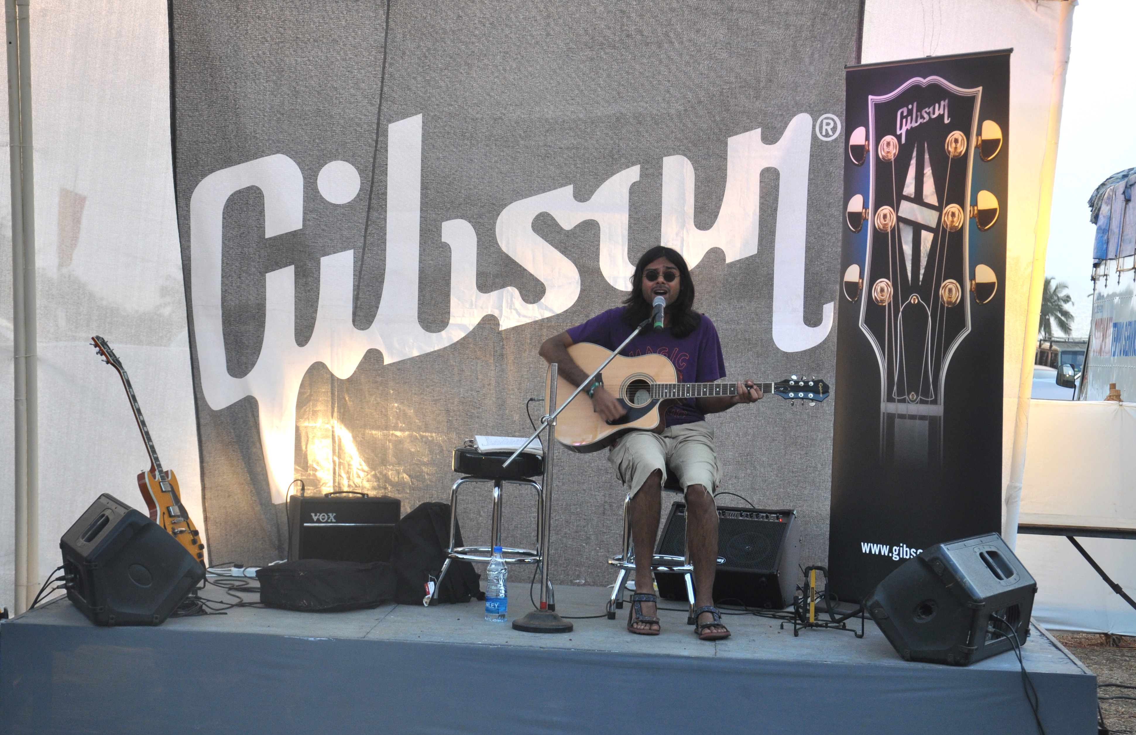 The Gibson stall. Anyone could pick up a guitar and strum away.