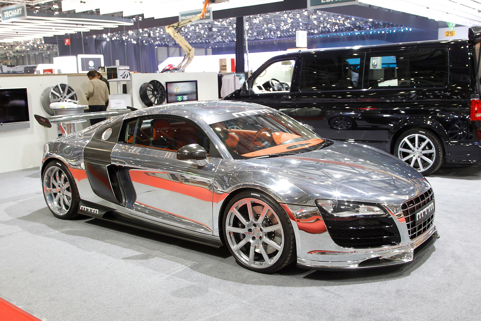 Chrome Audi R8 V10 has been tuned by MTM and features two turbochargers