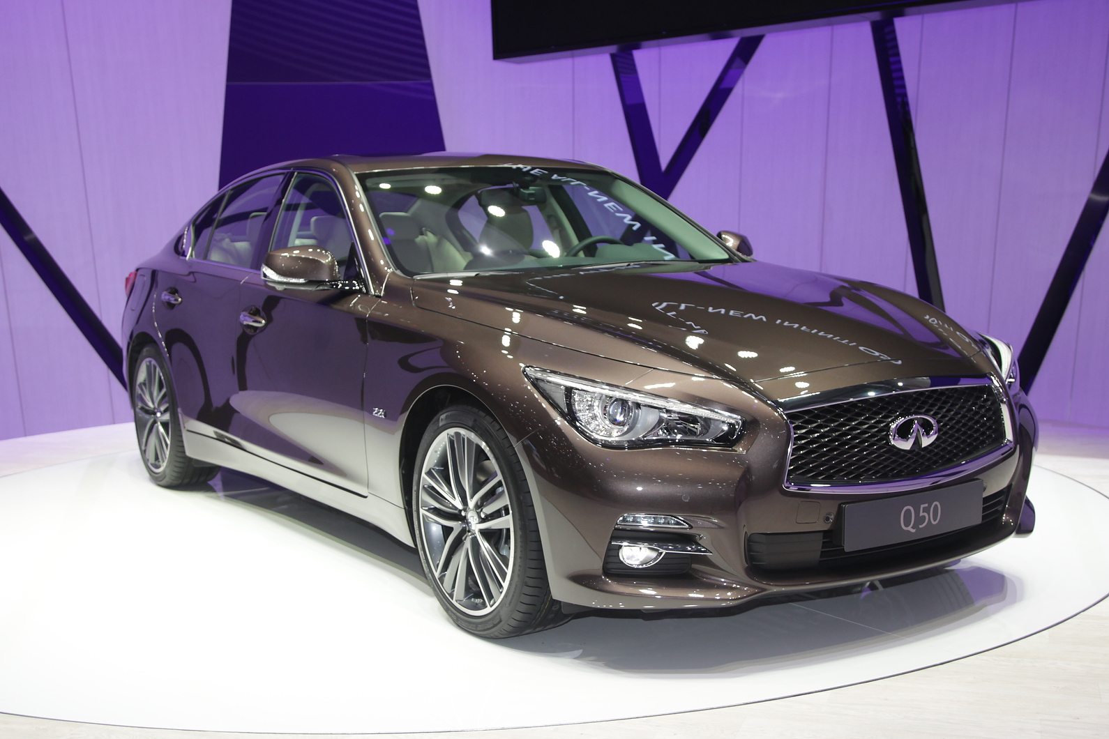 Infiniti showcased its Q50 saloon with a 2.1-litre Mercedes diesel