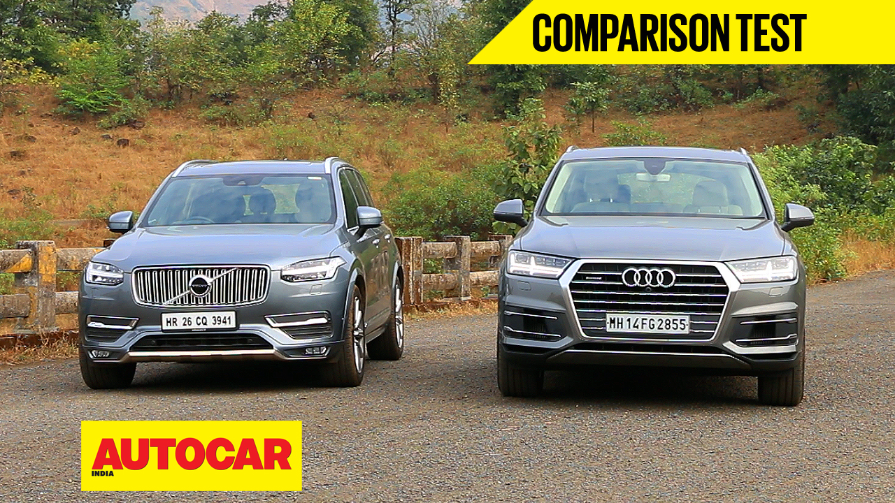 new audi q7 vs volvo xc90 video comparison cars premium luxury suvs autocar india. Black Bedroom Furniture Sets. Home Design Ideas